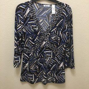 Women's liz&co. Large Black & Blue Blouse